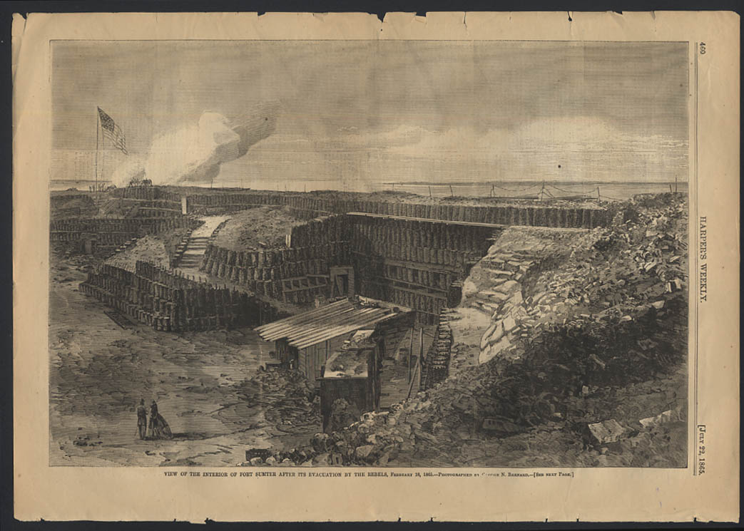 Image for HARPER'S WEEKLY 7/22 1865 Interior of Fort Sumter SC after rebel evacuation 2/18