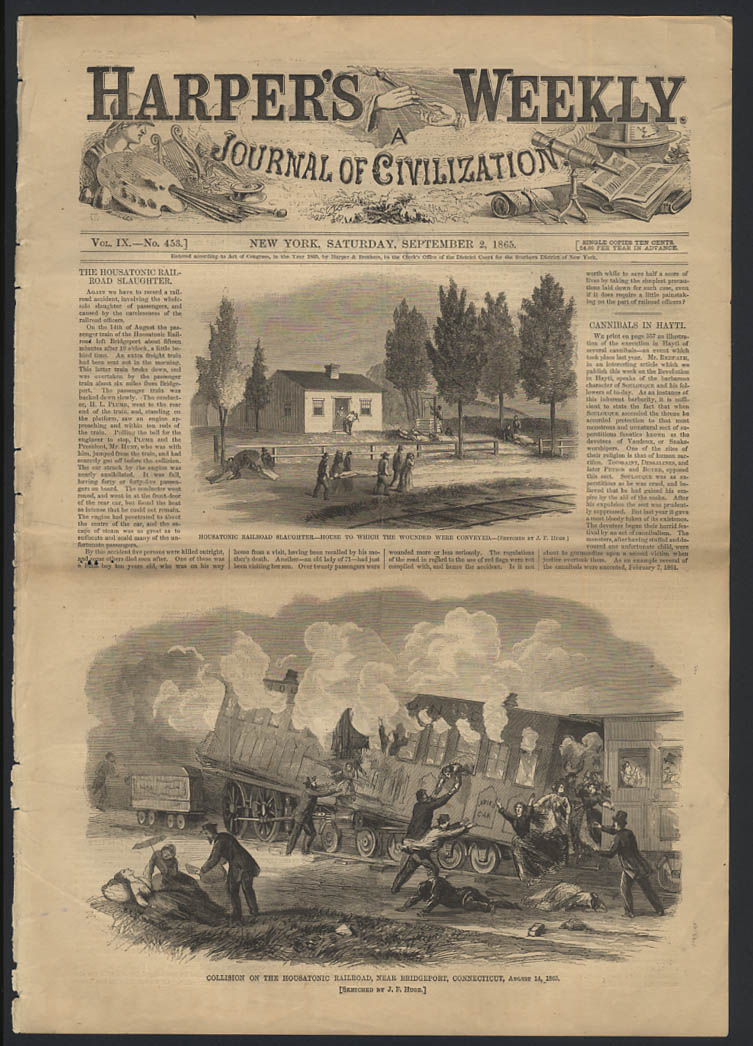 HARPER'S WEEKLY 9/2 1865 Housatonic Railroad collision Bridgeport CT 8/14
