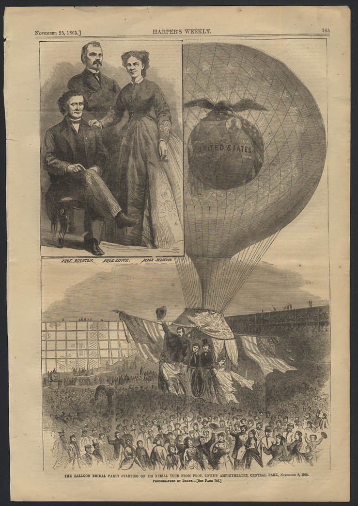 HARPER'S WEEKLY 11/25 1865 Prof Lowe Balloon Ascension NYC by Mathew Brady