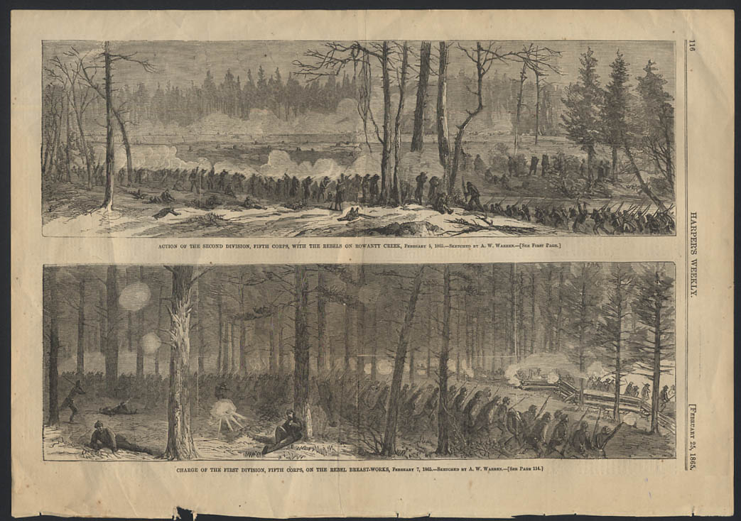 Image for HARPER'S WEEKLY 2/25 1865 2nd Division 5th Corps Rowanty Creek