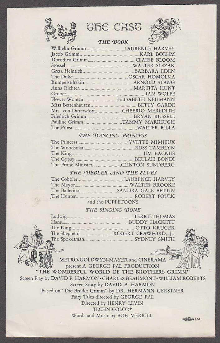 Wonderful World of Brothers Grimm Cinerama Program Hartford CT 1962