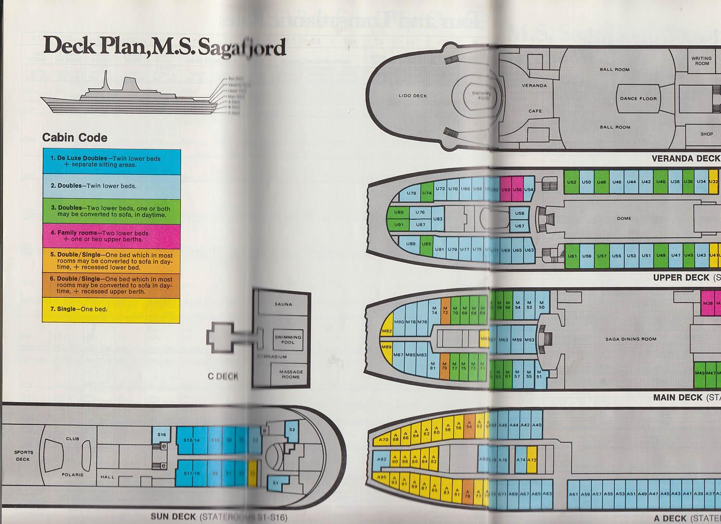 Norwegian America Lines M S Sagafjord Vistafjord Cruise Brochure 1977-1979