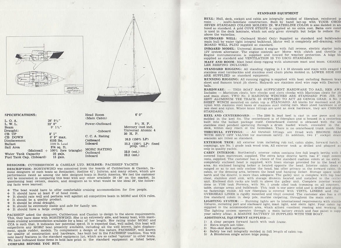 Paceship Northwind 29' sailboat sales folder 1960s