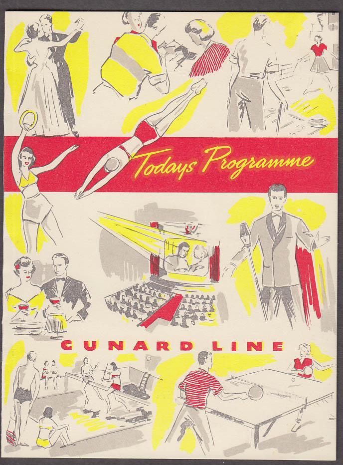 Cunard Line R M S Queen Elizabeth Today's Programme 7/25 1951