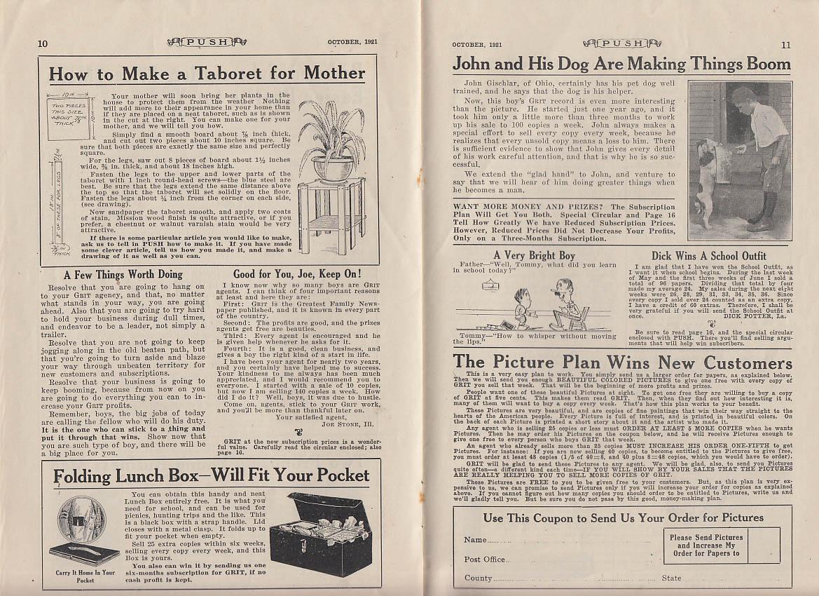 PUSH Grit newsboy monthly 10 1921 Hallie Conner John Gischlar E T Tipley