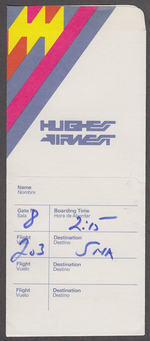 Hughes Airwest airline ticket wrapper 1975 used