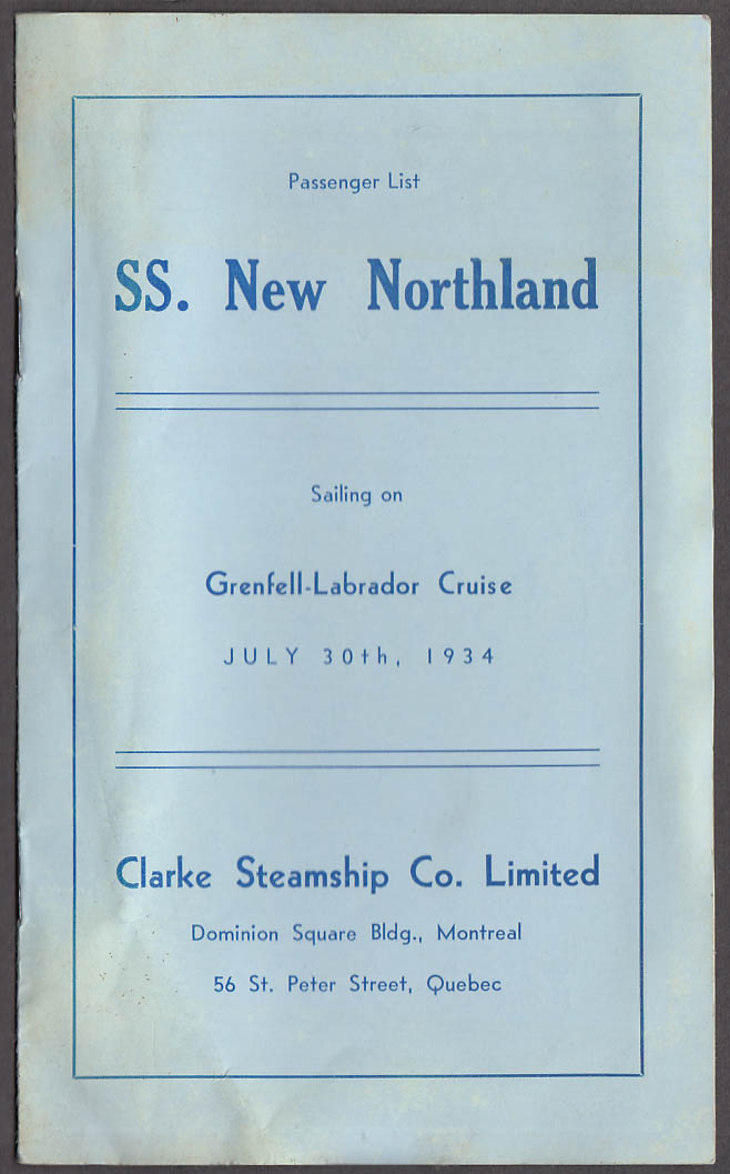Clarke Steamship Co S S New Northland Passenger List Labrador Cruise 1934