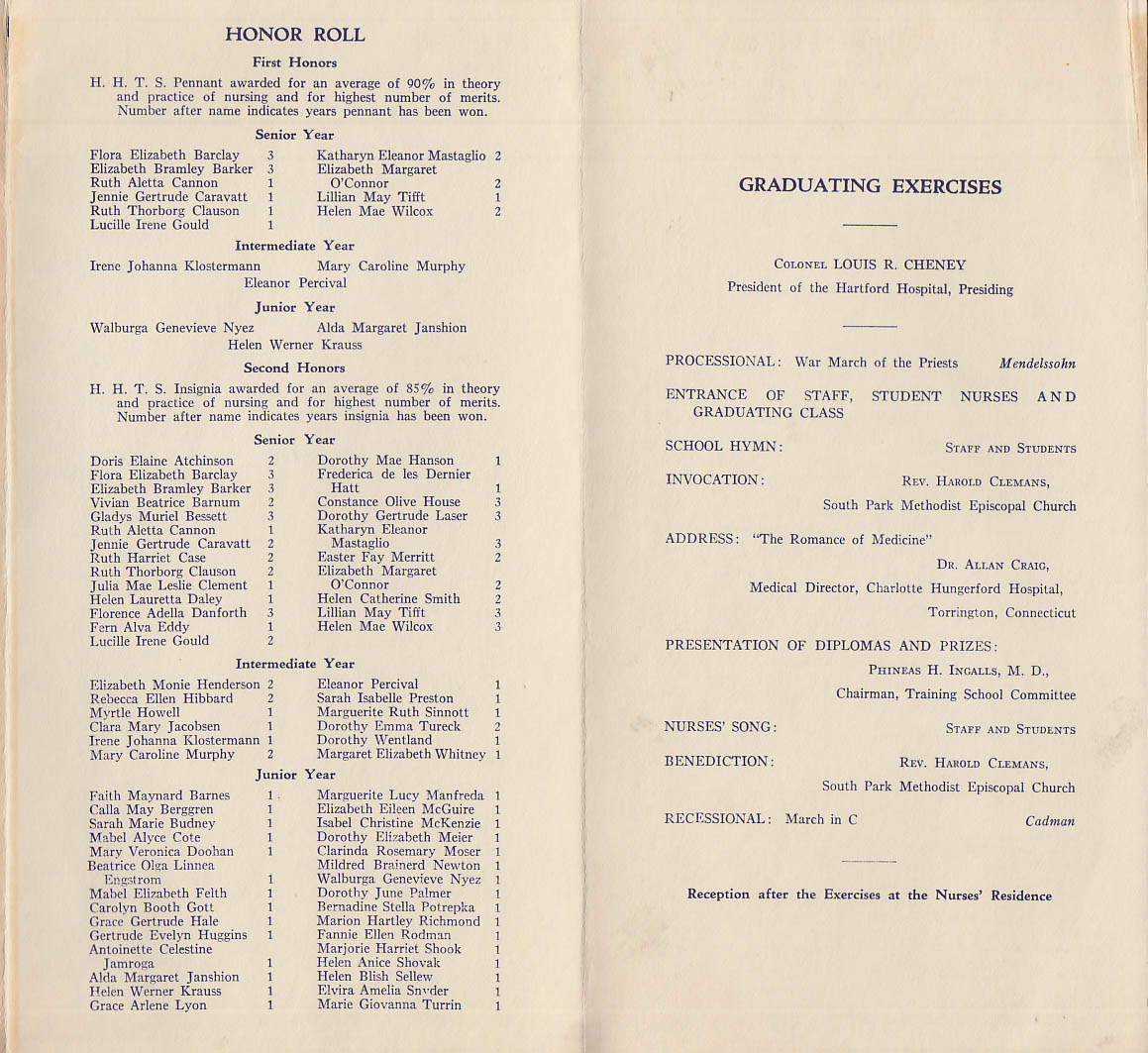 Graduation Program | Hartford Hospital Training School For Nurses Graduation Program 1931 Ct