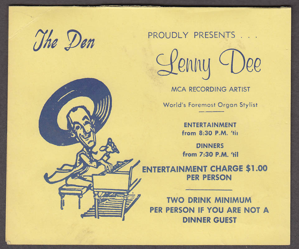 The Den Night Club tent card Lenny Dee Organ Stylist ca 1950s