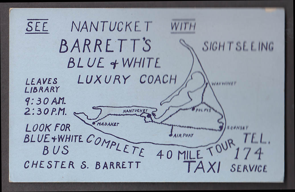 Barrett's Blue & White Coach Nantucket Bus Sightseeing blotter ca 1940s
