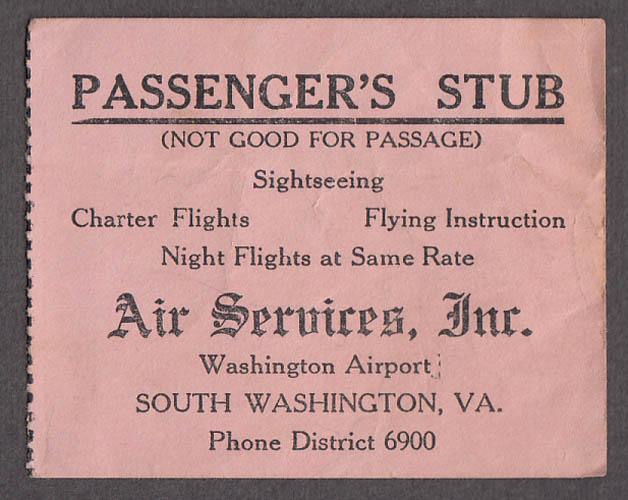 Air Services airline Passenger's Ticket Stub South Washington VA ca 1940s