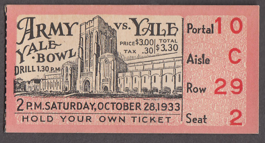 Army at Yale College Football Game ticket stub 10/28 1933