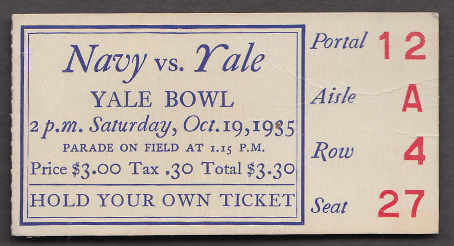 Navy at Yale College Football Ticket Stub 1935