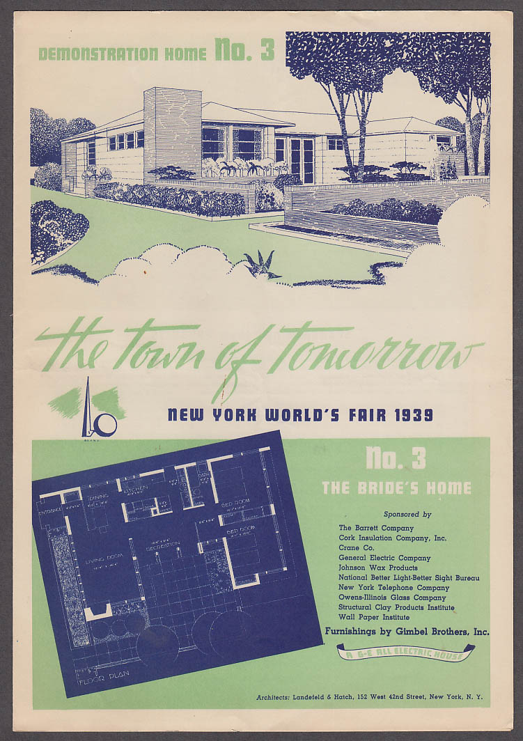 1939 New York World's Fair Town of Tomorrow folder #3 The Bride's Home