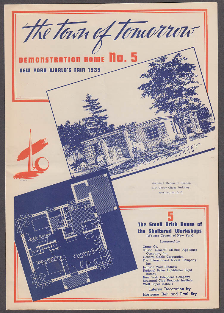 1939 New York World's Fair Town of Tomorrow folder #5 Brick Sheltered Workshops