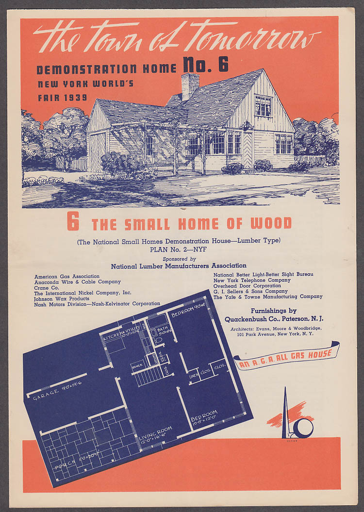 1939 New York World's Fair Town of Tomorrow folder #6 Small Home of Wood