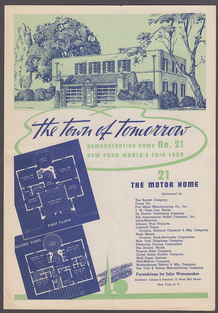 1939 New York World's Fair Town of Tomorrow folder #21 The Motor Home