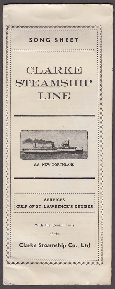 Clarke Steamship Line S S New-Northland Song Sheet 1934