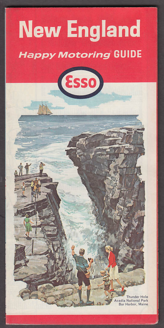 Esso Happy Motoring Guide Road Map New England 2 1965