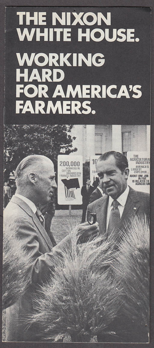 Nixon Working for America's Farmers campaign brochure 1972 Earl Butz