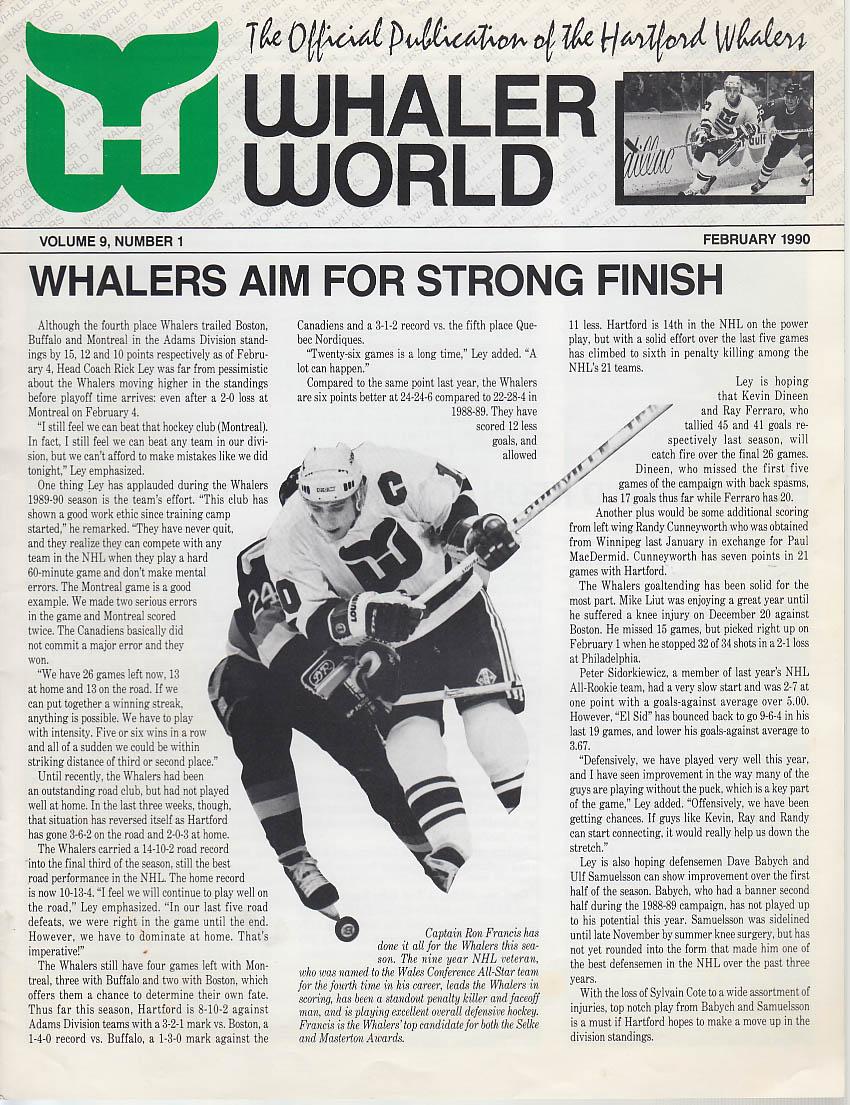 Hartford WHALER WORLD 2 1990 Ed Johnston Baldwin Dave Keon Alumni Assn