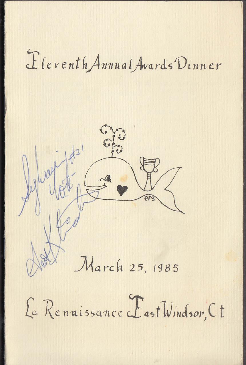 SIGNED Sylvain Cote Scott Kleinendorst Hartford Whalers Awards Dinner 1985