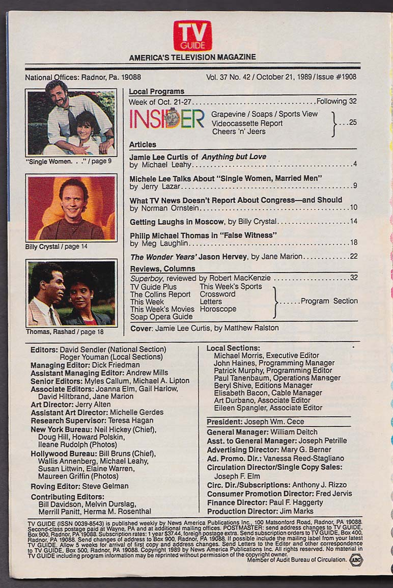TV GUIDE Jamie Lee Curtis Philip Michael Thomas Billy Crystal 10/21 1989