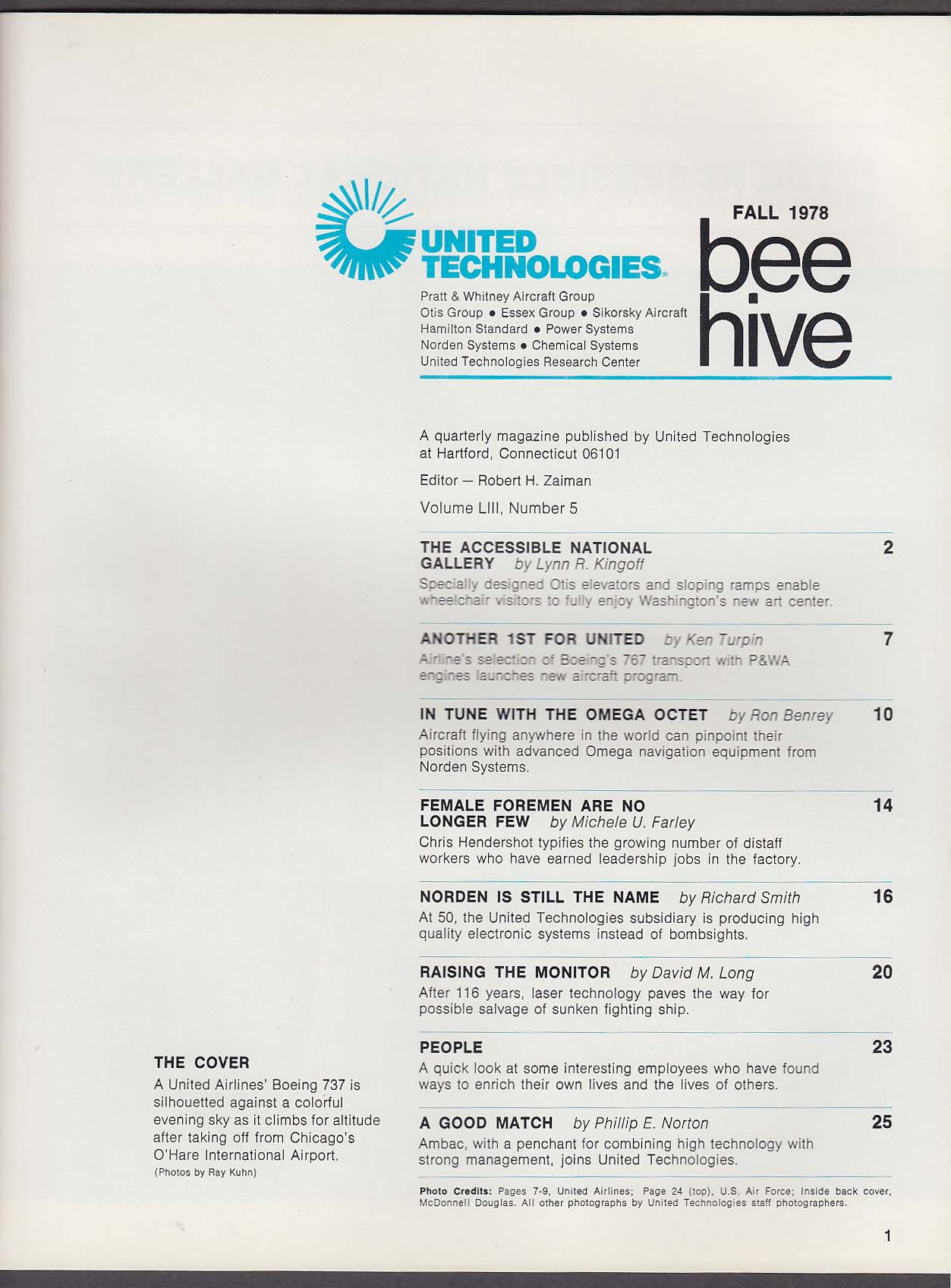 BEE-HIVE United Technologies United Airlines Boeing 767 + Fall 1978