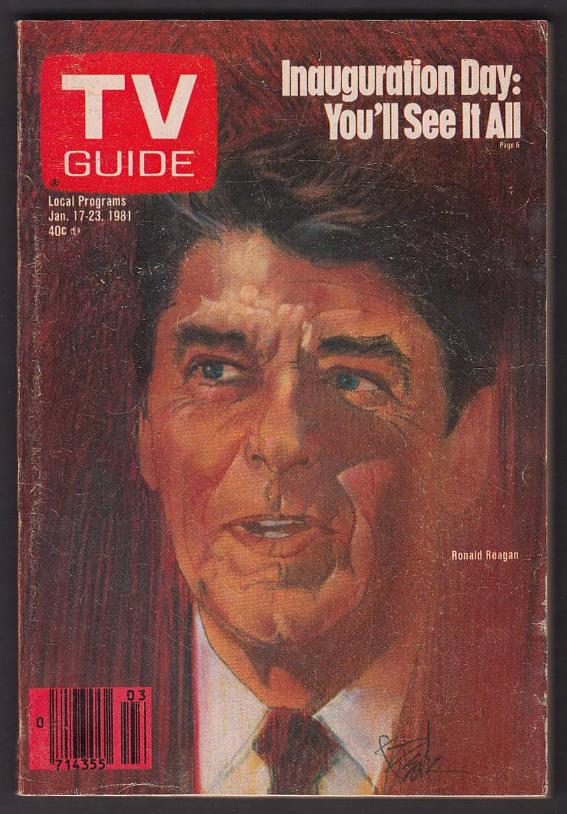 TV GUIDE Ronald Reagan Inauguration Day 1/17 1981