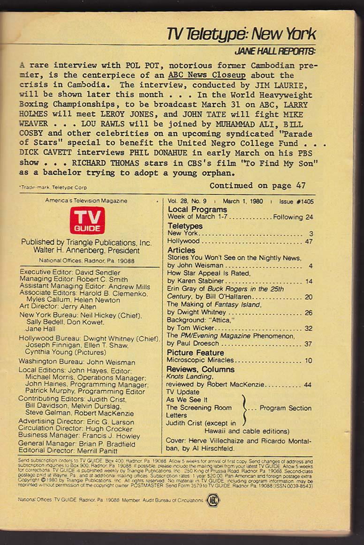 TV GUIDE Hirschfeld Herve Villechaize Ricardo Montalban Fantasy Island 3/1 1980
