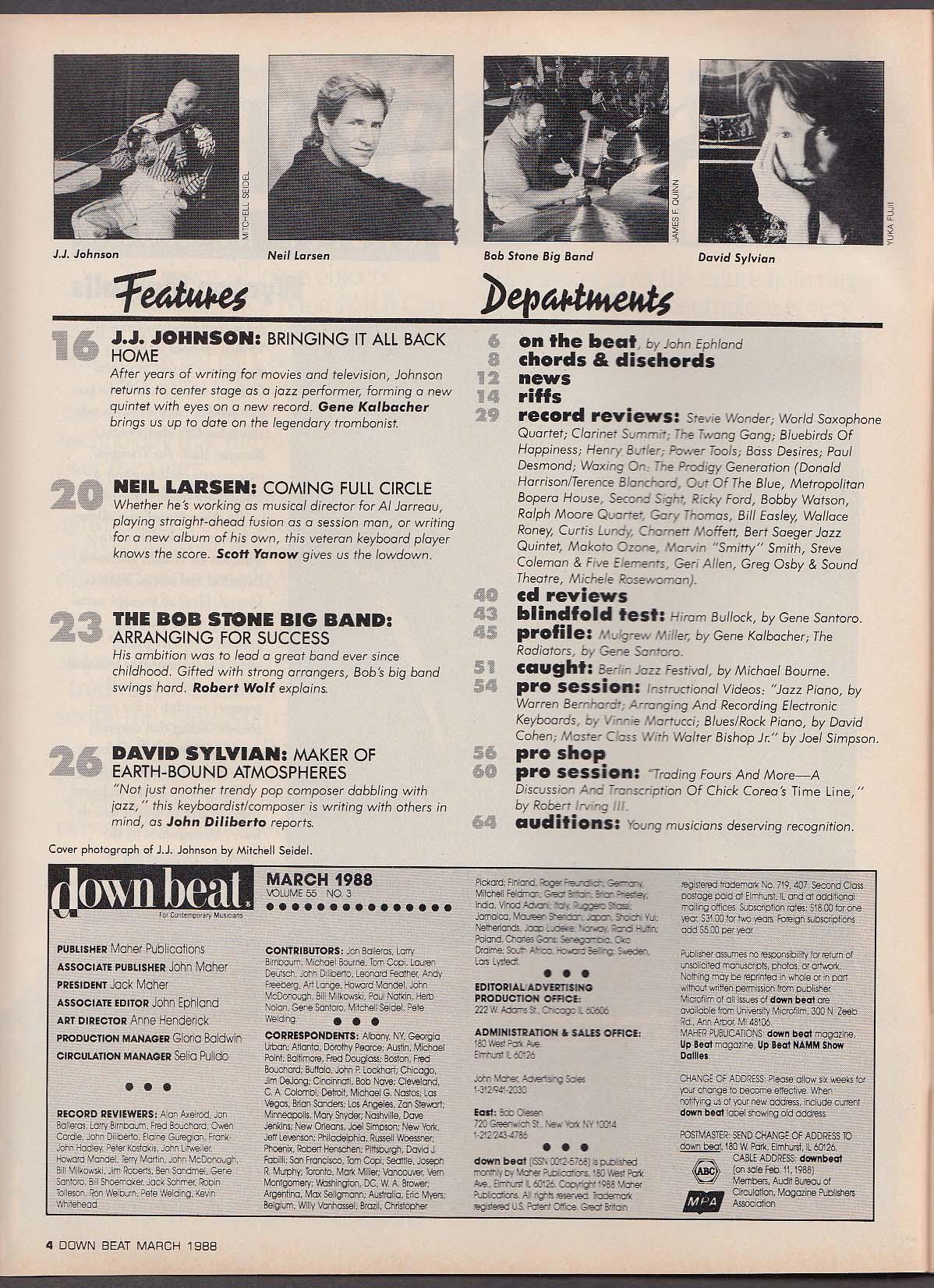 DOWN BEAT J J Johnson Neil Larsen David Sylvian Bob Stone 3 1988