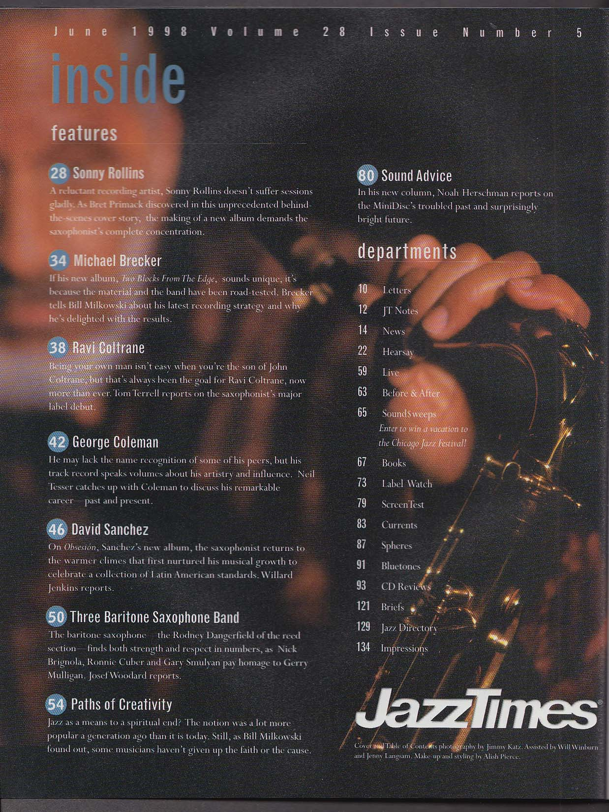 JAZZ TIMES Sonny Rollins George Coleman Ravi Coltrane David Sanchez 6 1998