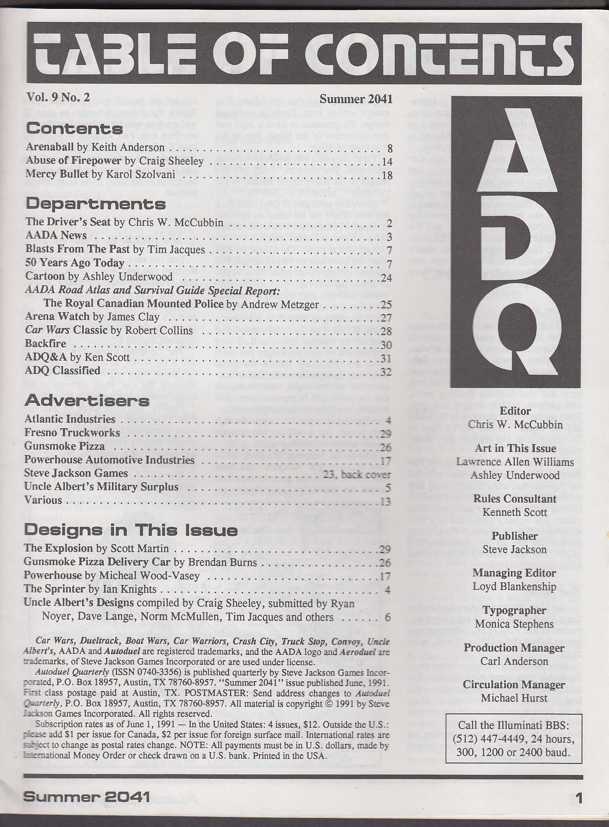 ADQ Autoduel Quarterly Vol 9 #2 Car Wars Steve Jackson Games 1991 RPG