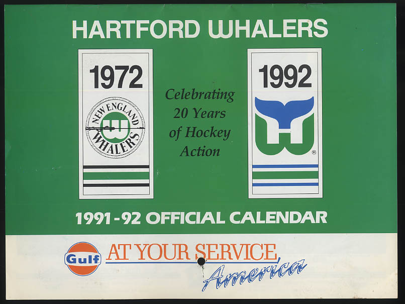 Hartford Whalers 1991-1992 Season Calendar Gulf Gasoline