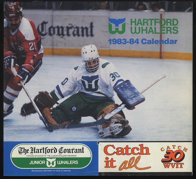 Hartford Whalers 1983-1984 Season Calendar Courant Channel 30 WVIT