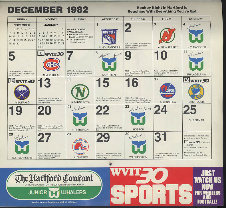 Hartford Whalers 1982-1983 Season Calendar Courant Channel 30 WVIT