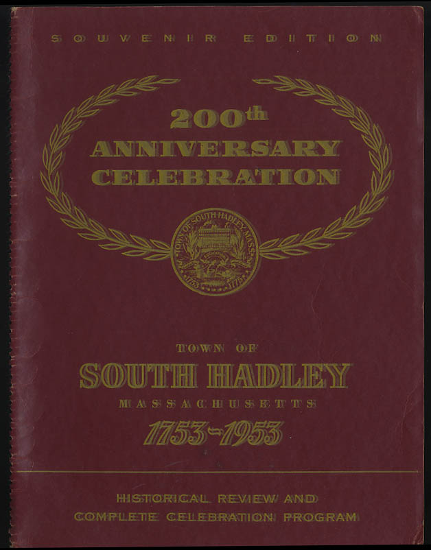Image for South Hadley Massachusetts 200th Anniversary Celebration Program 1953