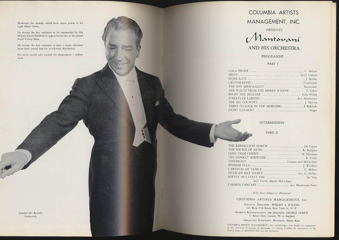 Mr Music - Montovani concert souvenir program 1966