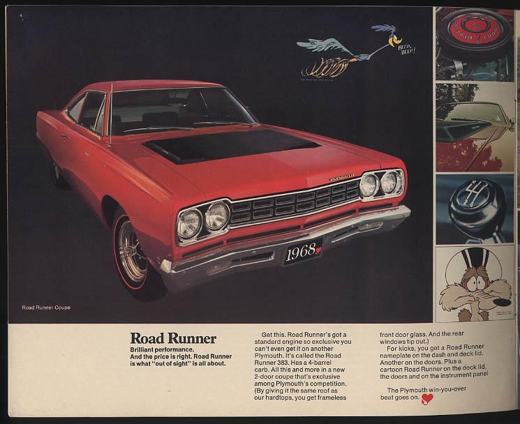 1968 Plymouth Win You Over Barracuda VIP Fury GTX Road Runner Valiant brochure