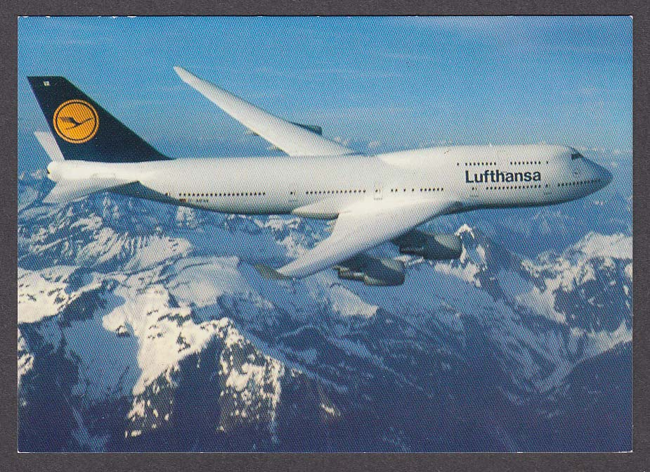 Lufthansa Boeing 747-400 flying over mountains postcard