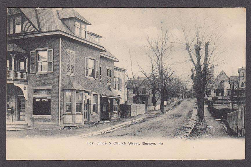 Post Office & Church Street Berwyn PA undivided back postcard 1900s