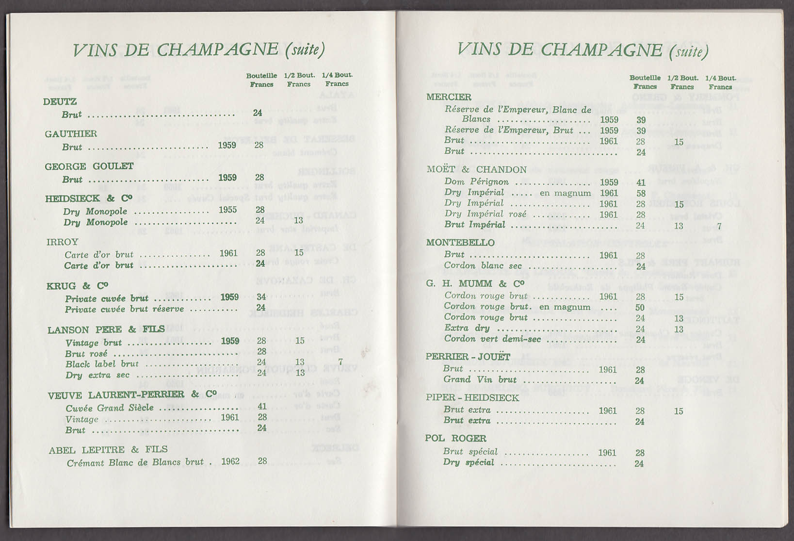French Line S S France Wine & Beverage List 1 1967