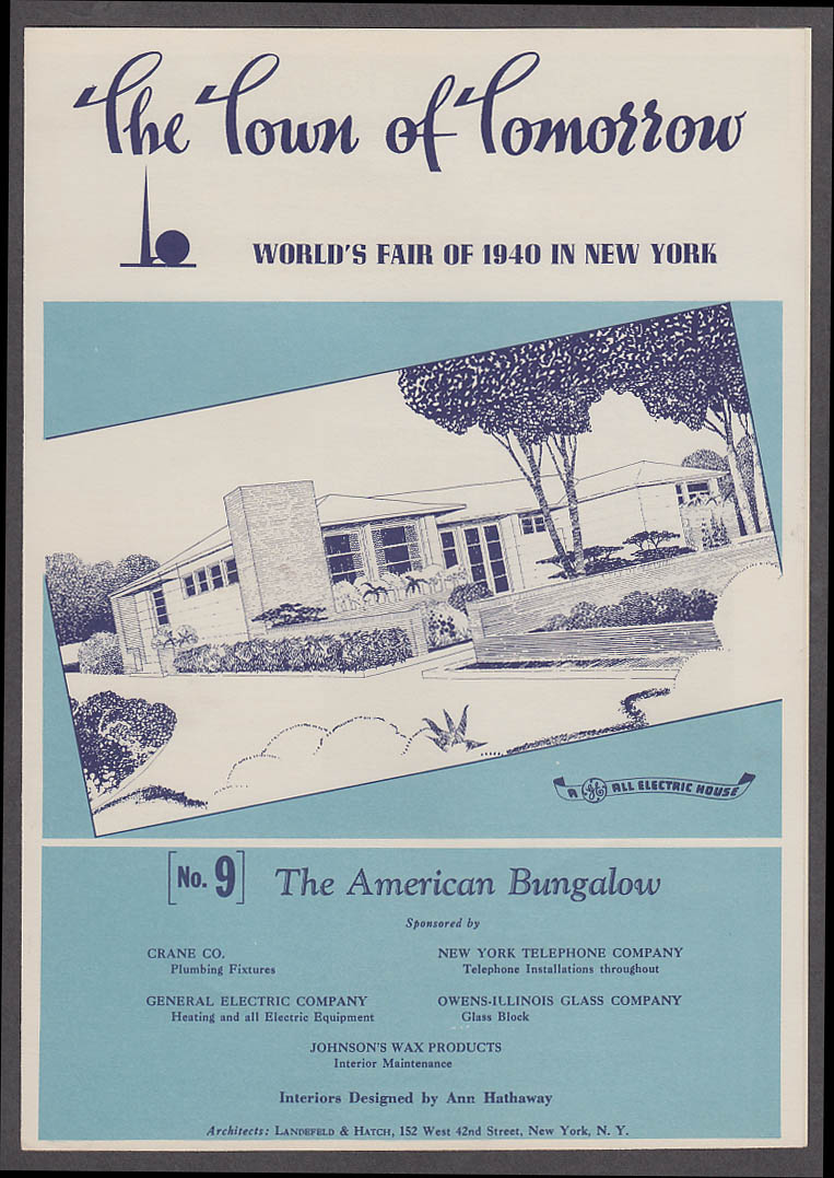 1940 New York World's Fair Town of Tomorrow folder #9 American Bungalow