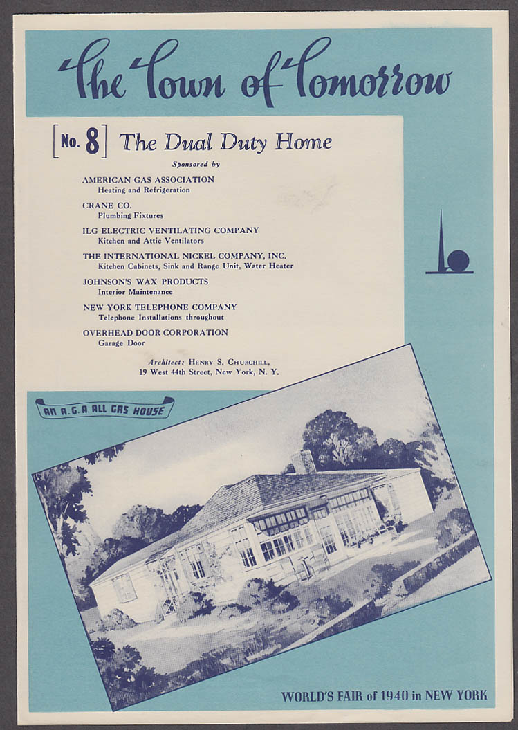 1940 New York World's Fair Town of Tomorrow folder #8 The Dual Duty Home