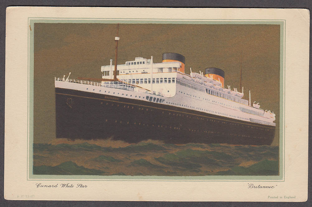 Cunard M V Britannic Abstract of Log card 9/21-9/29 1951 Liverpool-NYC