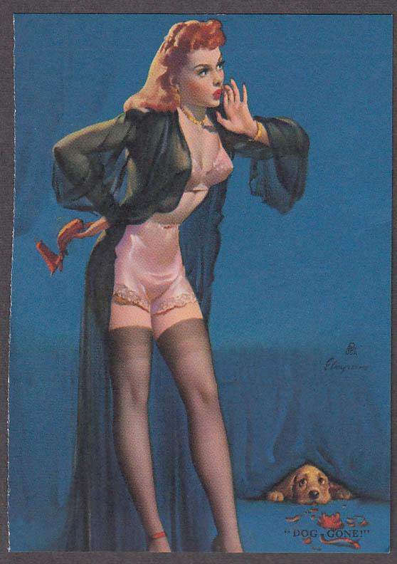Dog Gone! Elvgren pin-up sheet 1940s redhead pink bra panties black nightie