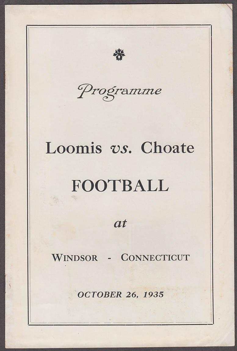 Loomis vs Choate prep school football program Windsor CT 1935