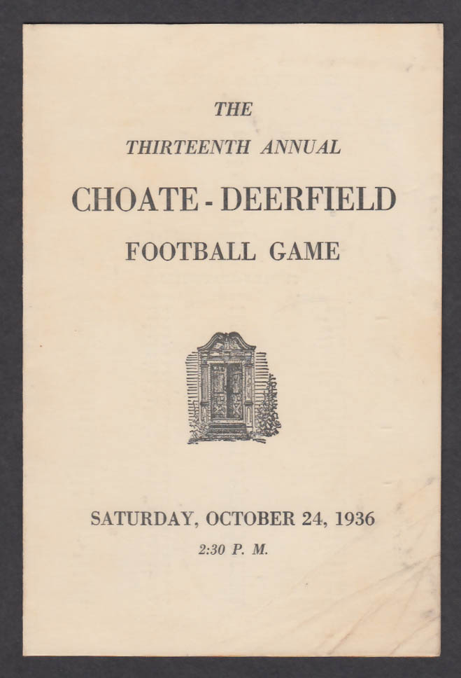 Choate v Deerfield prep school football program 1936