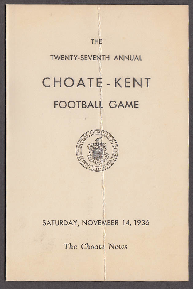 Choate vs Kent prep school foortball game program 1936