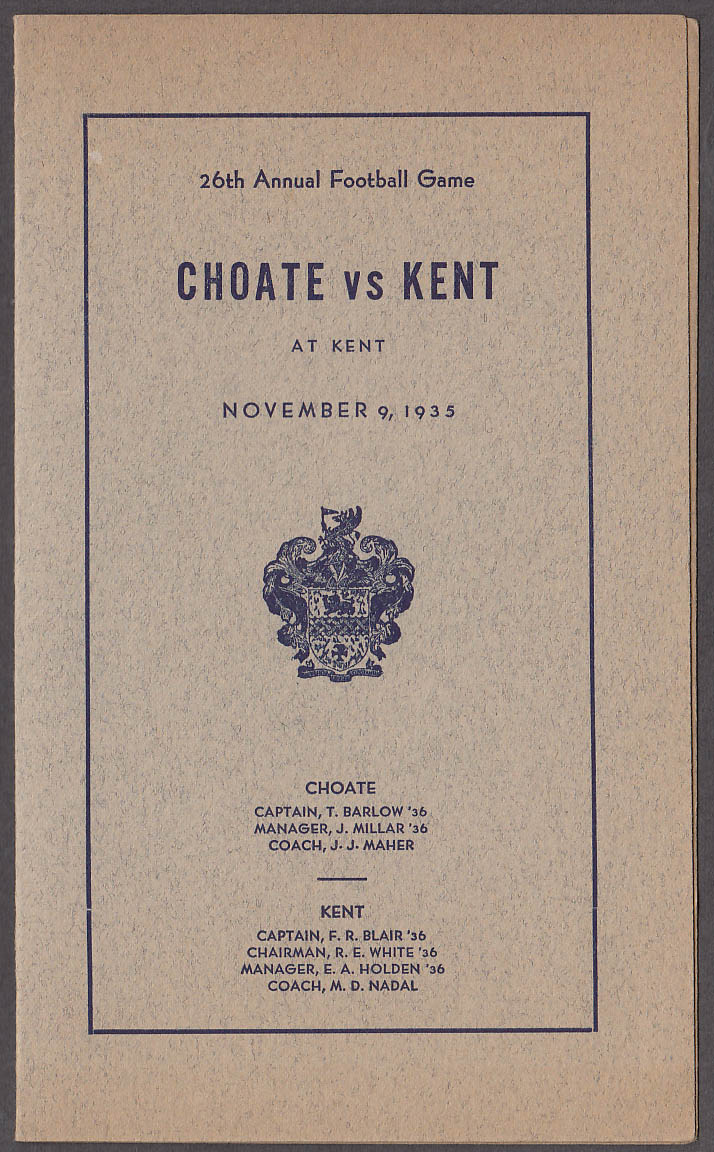 Choate vs Kent prep school football game program 1935